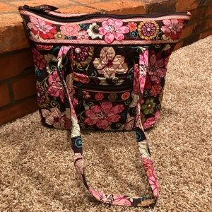 Vera Bradley Zippered Tote in Mod Pink Floral, EUC
